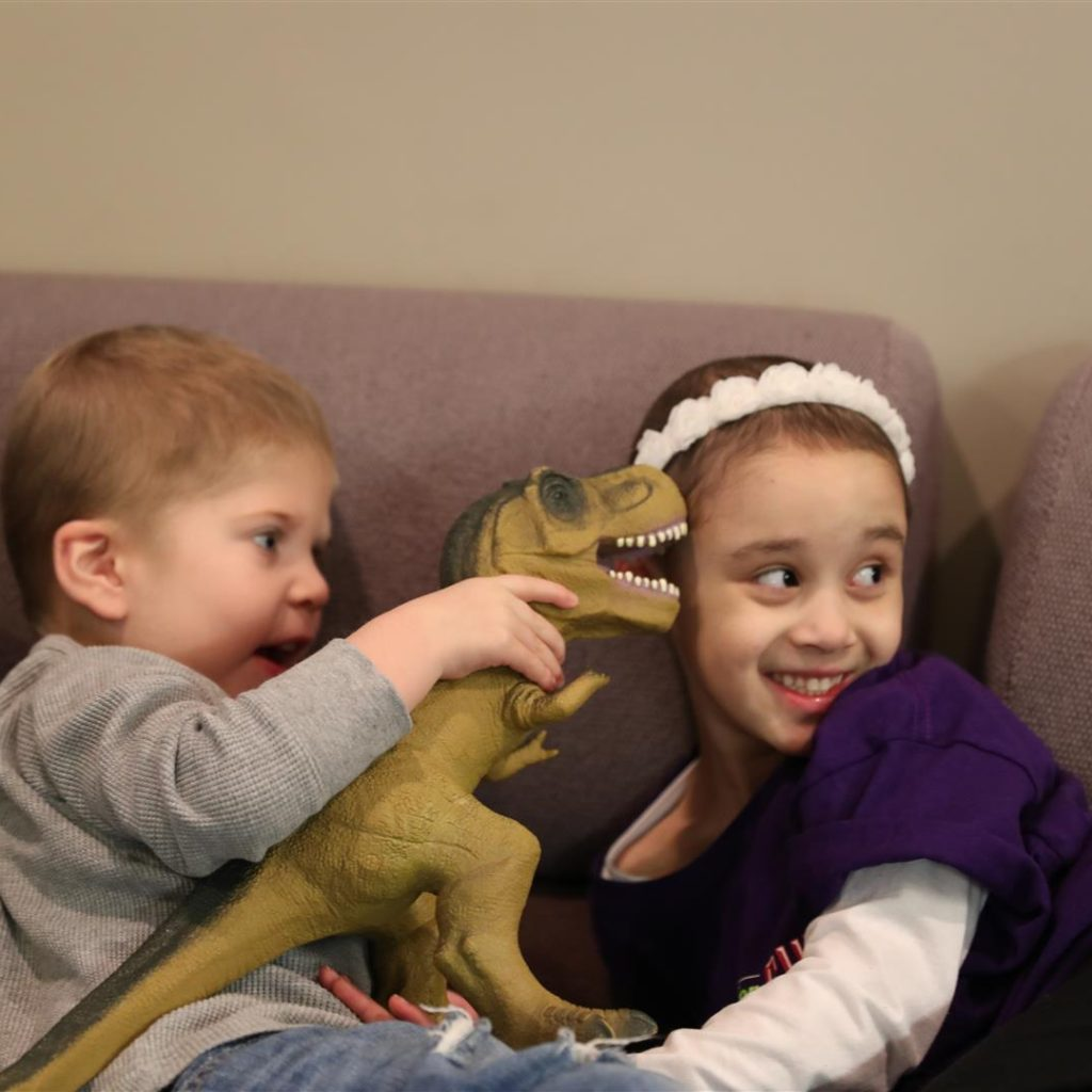Layla With Dinosaur